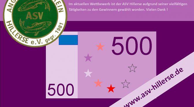 50 x 500 – Stadtwerke würdigen Engagement des ASV Hillerse mit 500 Euro